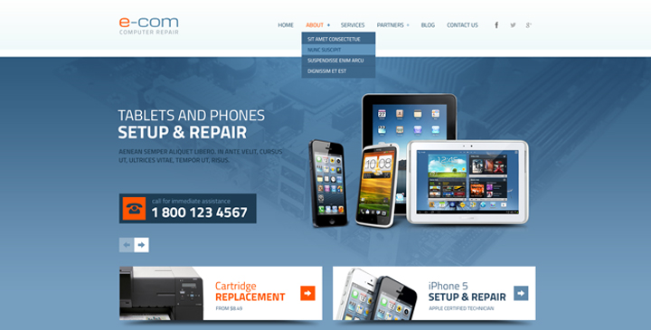 Computer repair service wordpress template