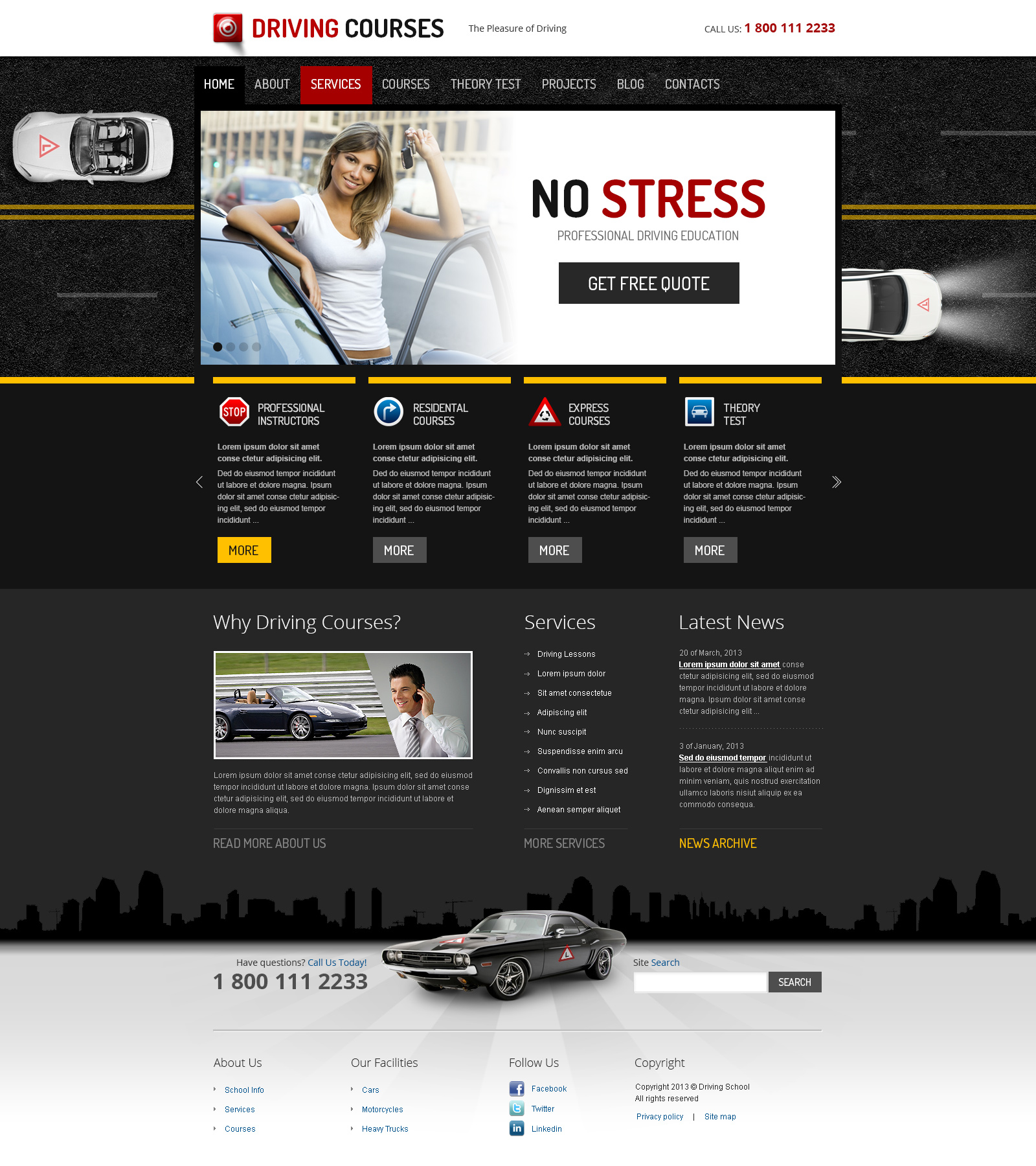 driving courses wordpress responsive template