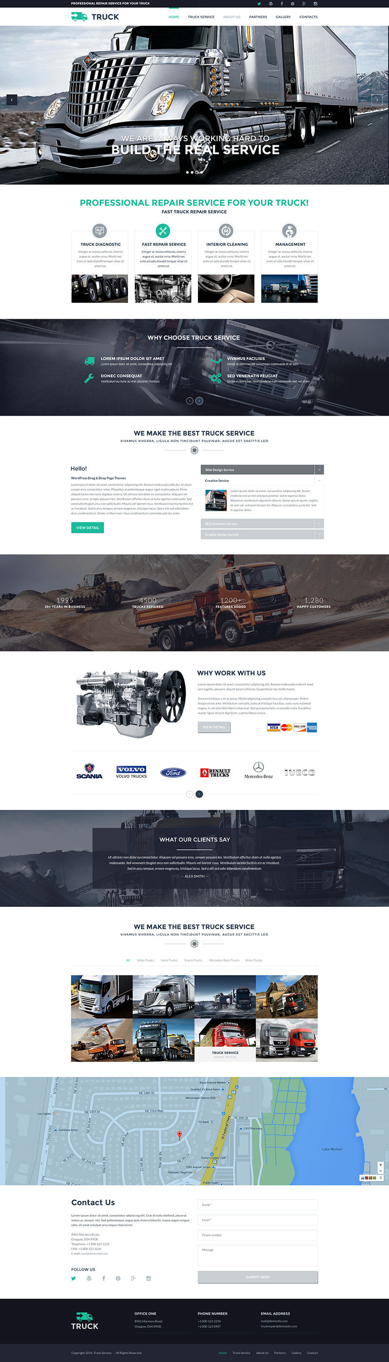truck service bootstrap responsive parallax template
