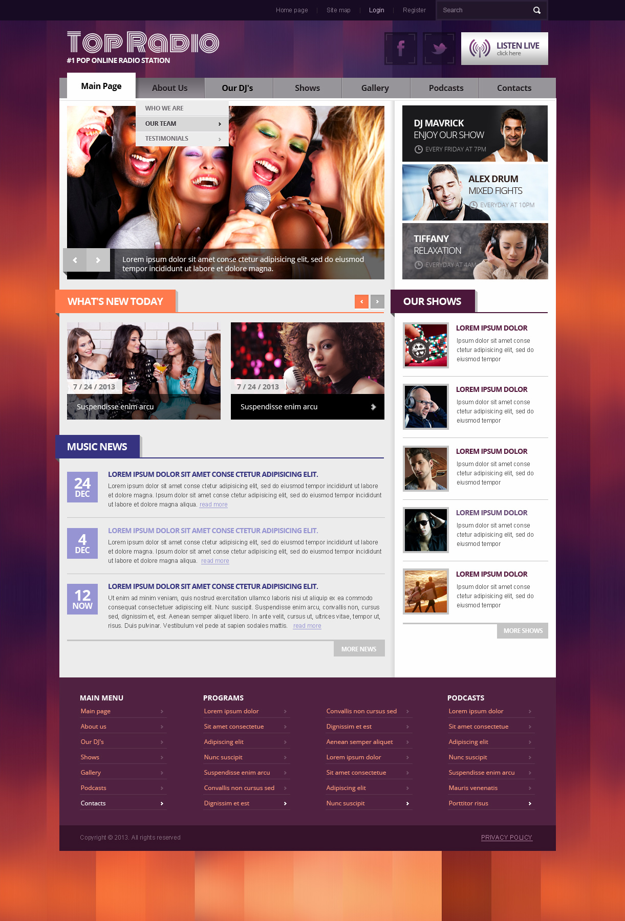Top Radio, Joomla responsive theme