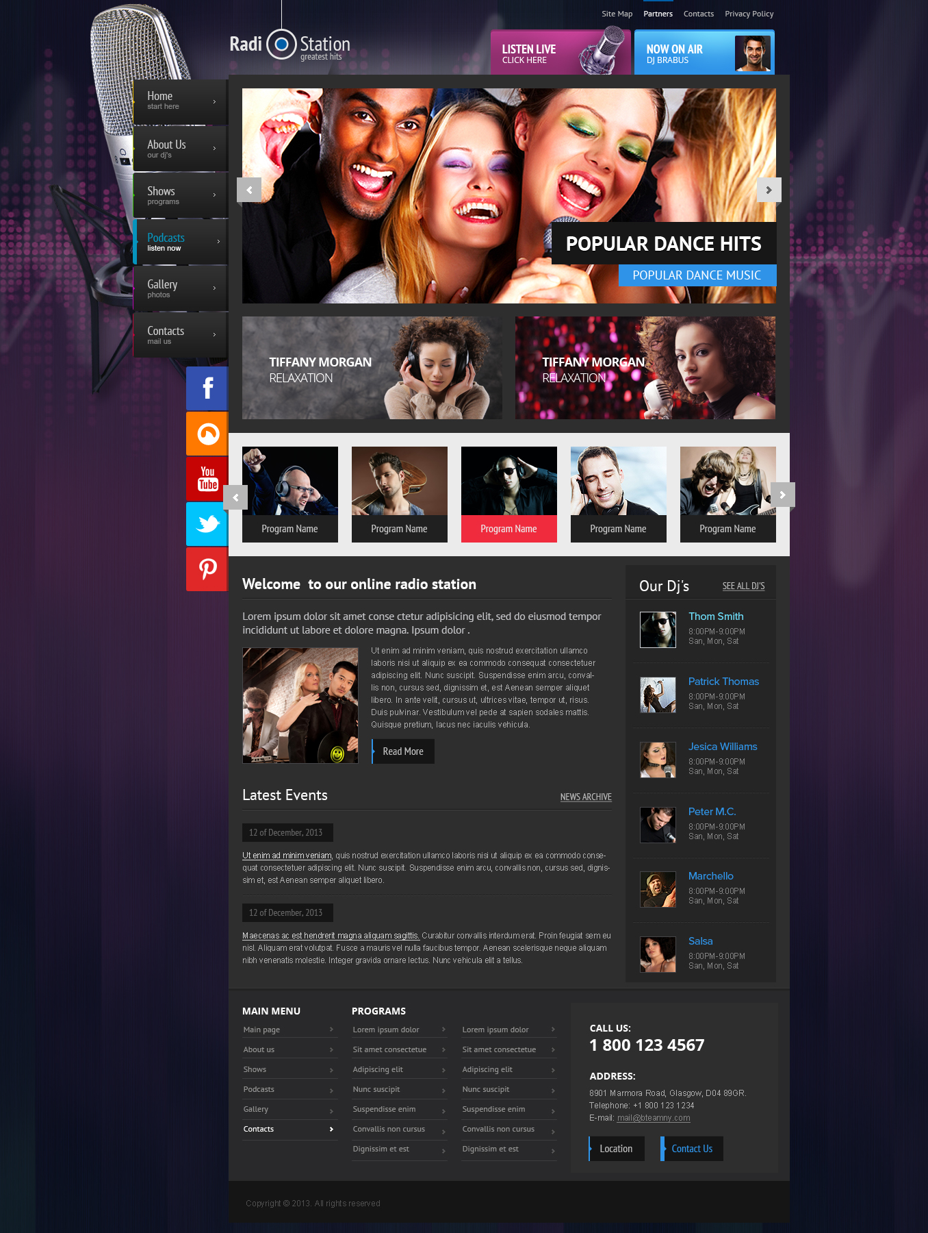 Radio station Joomla responsive theme (template)