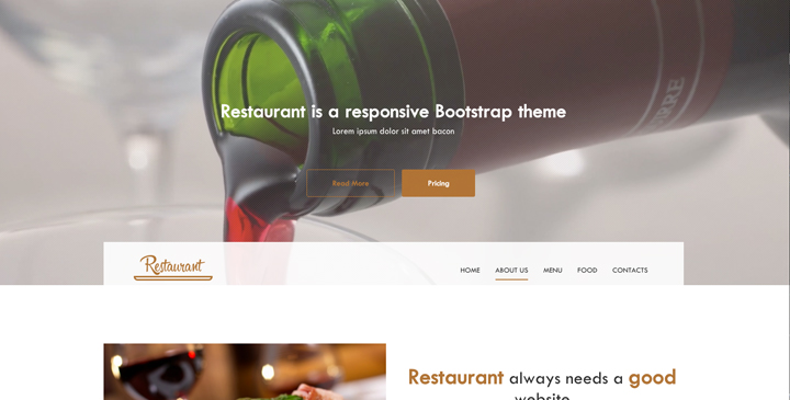 Restaurant - One page free bootstrap template