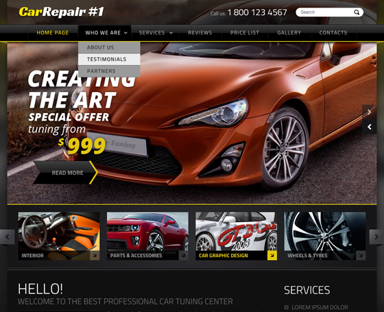 Car Tuning Joomla responsive template