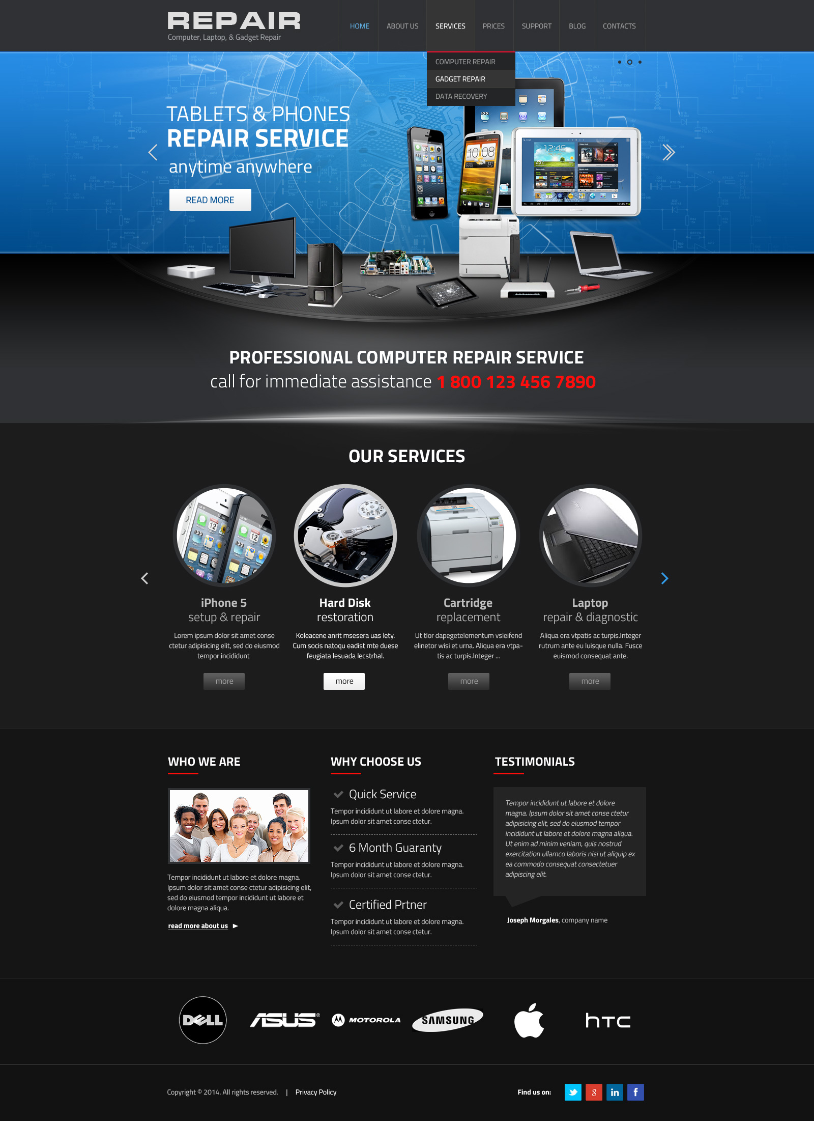 Gadget repair service wordpress template