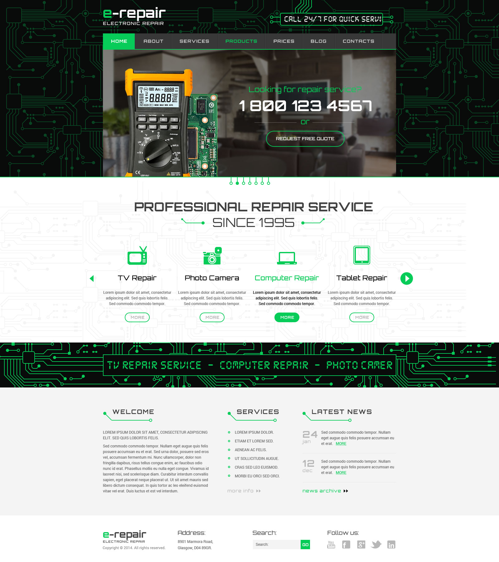 Electronic Repair Bootstrap Wordpress Theme Gridgum