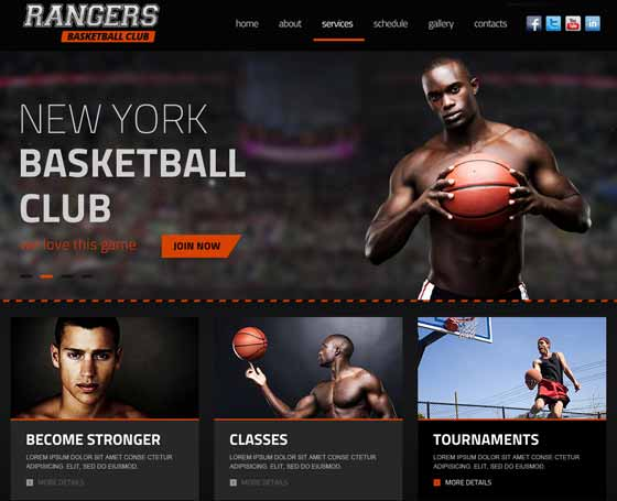 Basketball club bootstrap template