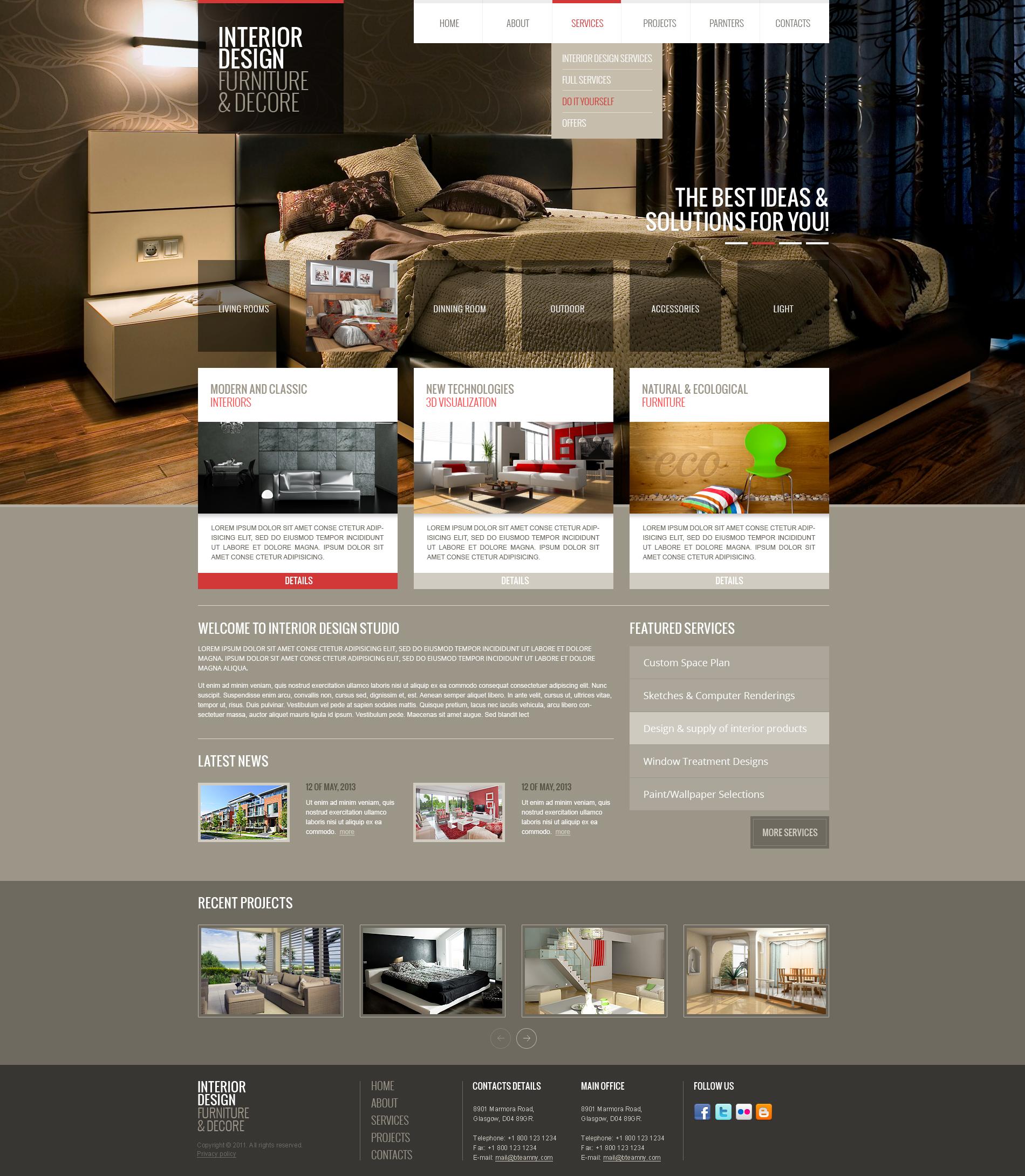 Interior Design Html Bootstrap Template Theme Gridgum