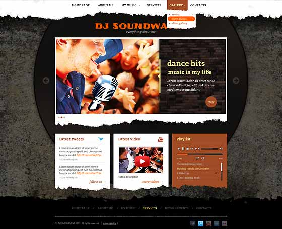 DJ Sound waves free bootstrap template