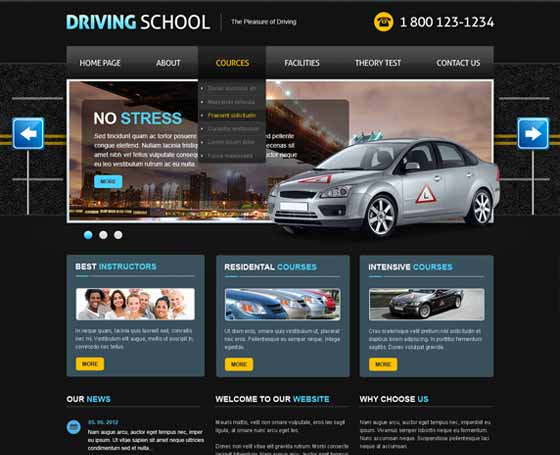 Driving School joomla responsive theme