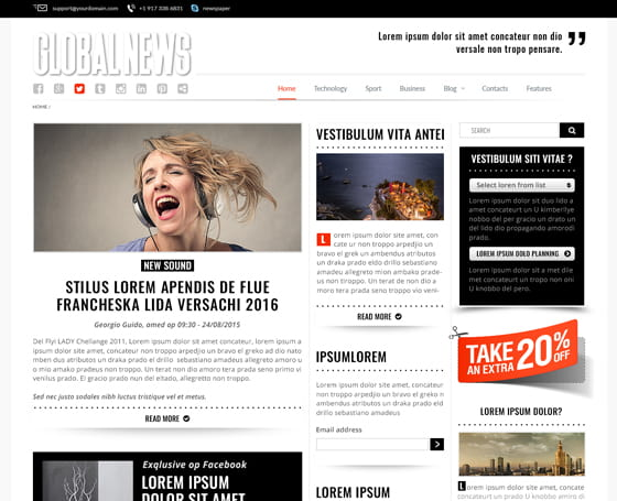 Newspaper Drag & Drop responsive theme