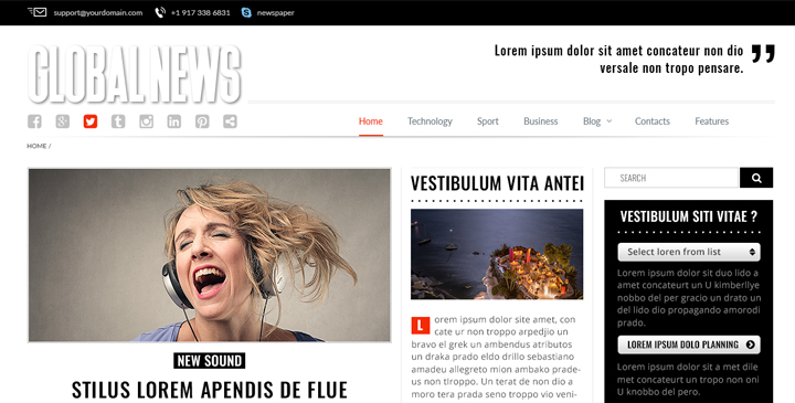 Newspaper bootstrap theme