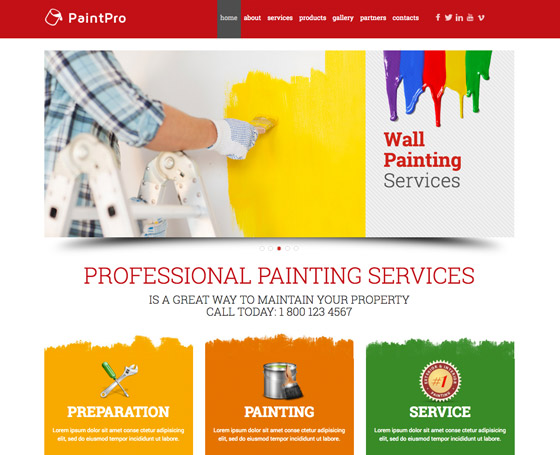 House Painting website template | Gridgum