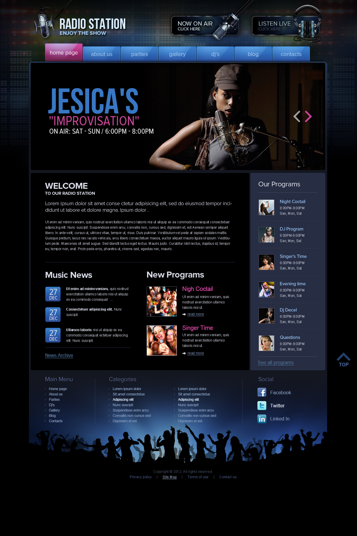 DJ Online Radio Station Wordpress Theme (template)
