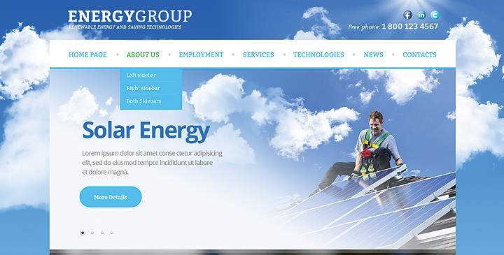 Solar energy Joomla website template