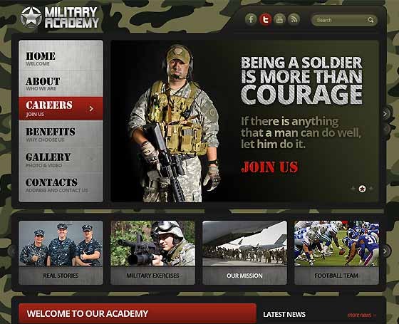 Military Academy bootstrap template