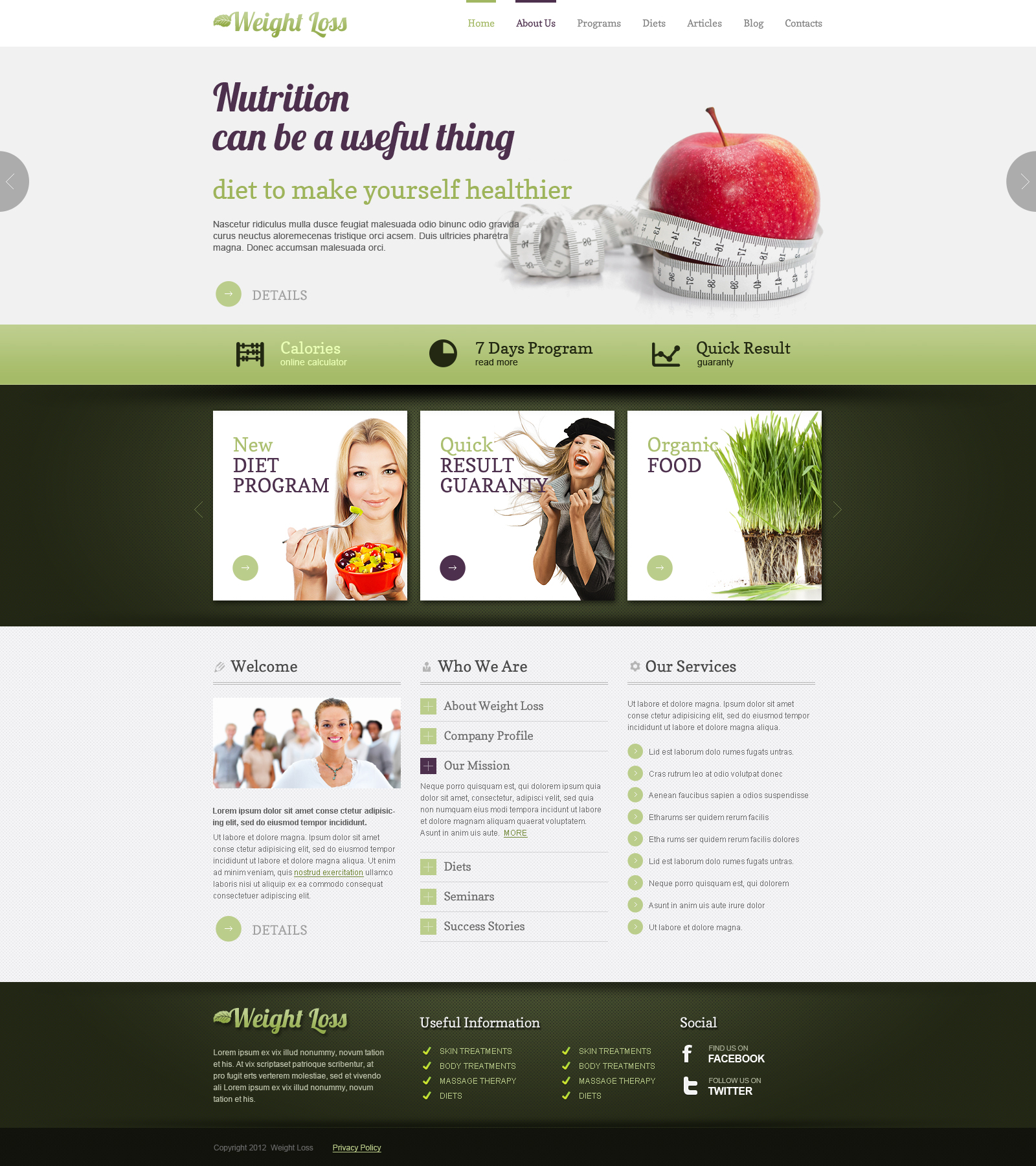 Weight loss joomla responsive template (theme)