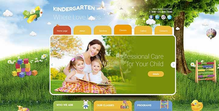 Child school template, Preschool bootstrap theme | Gridgum