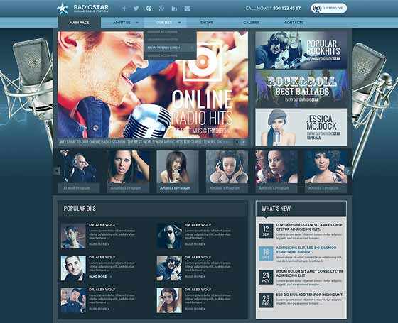Blue Radio wordpress template