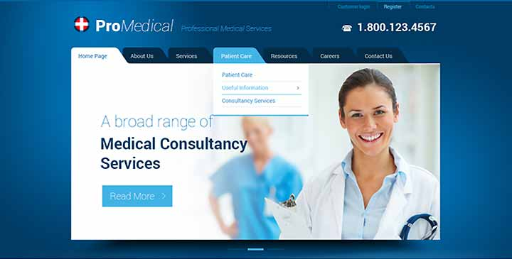 Hospital website template