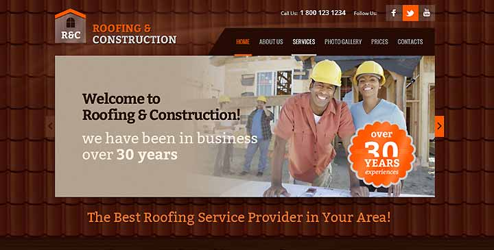 roofing bootstrap theme construction template gridgum