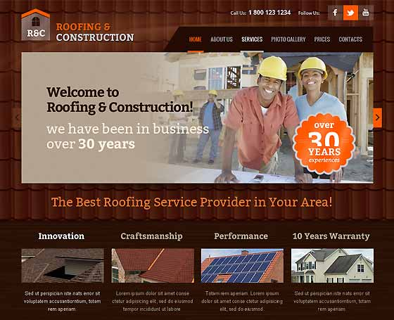 Roofing and construction bootstrap theme