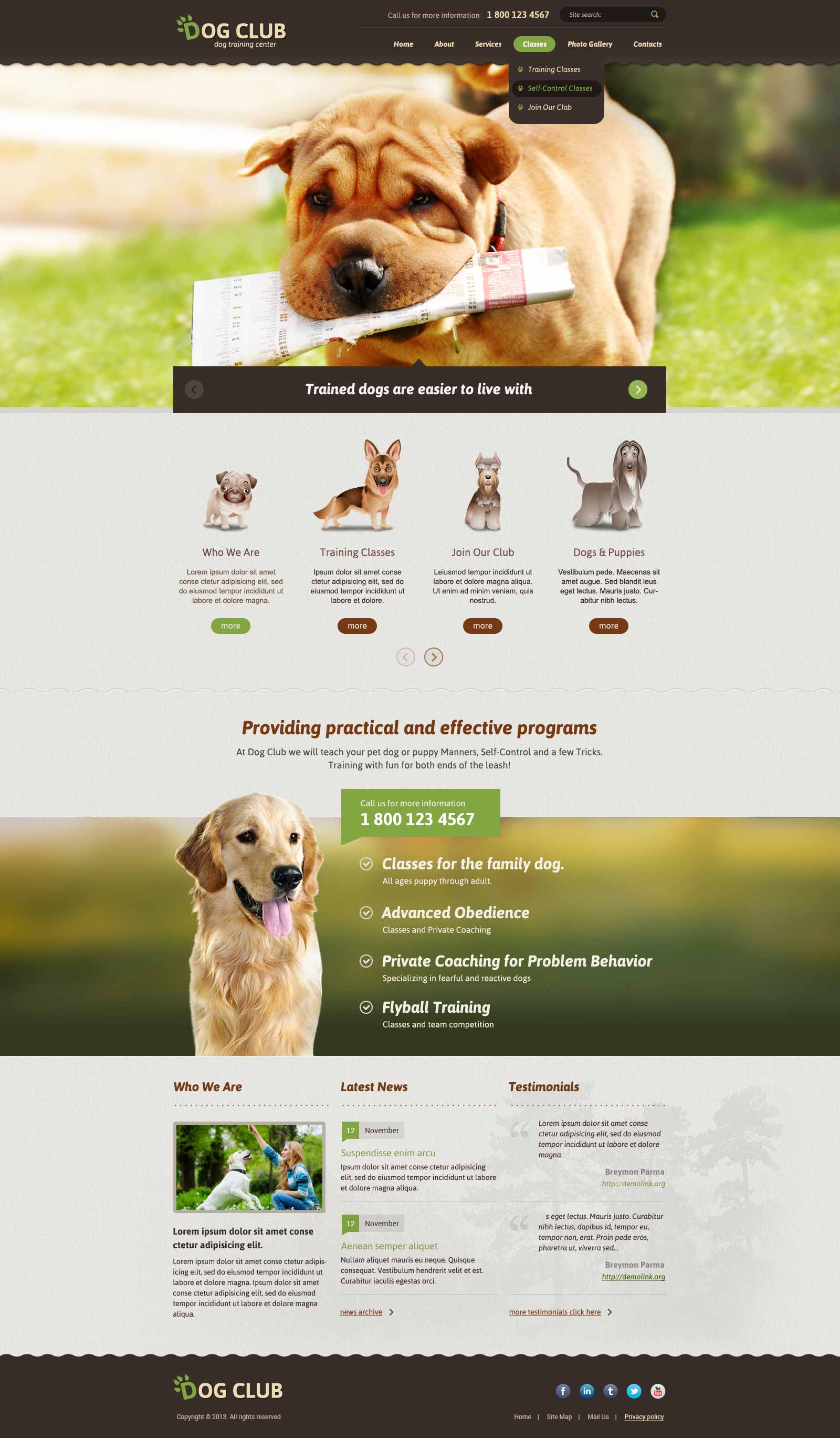 Dog Club Bootstrap Responsive Theme (Template)