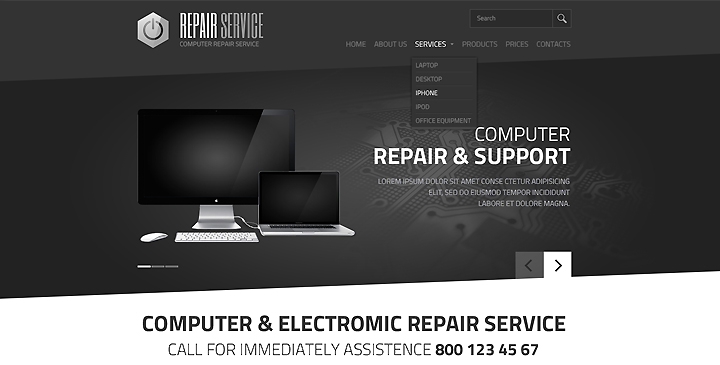 computer  electronic  service html template