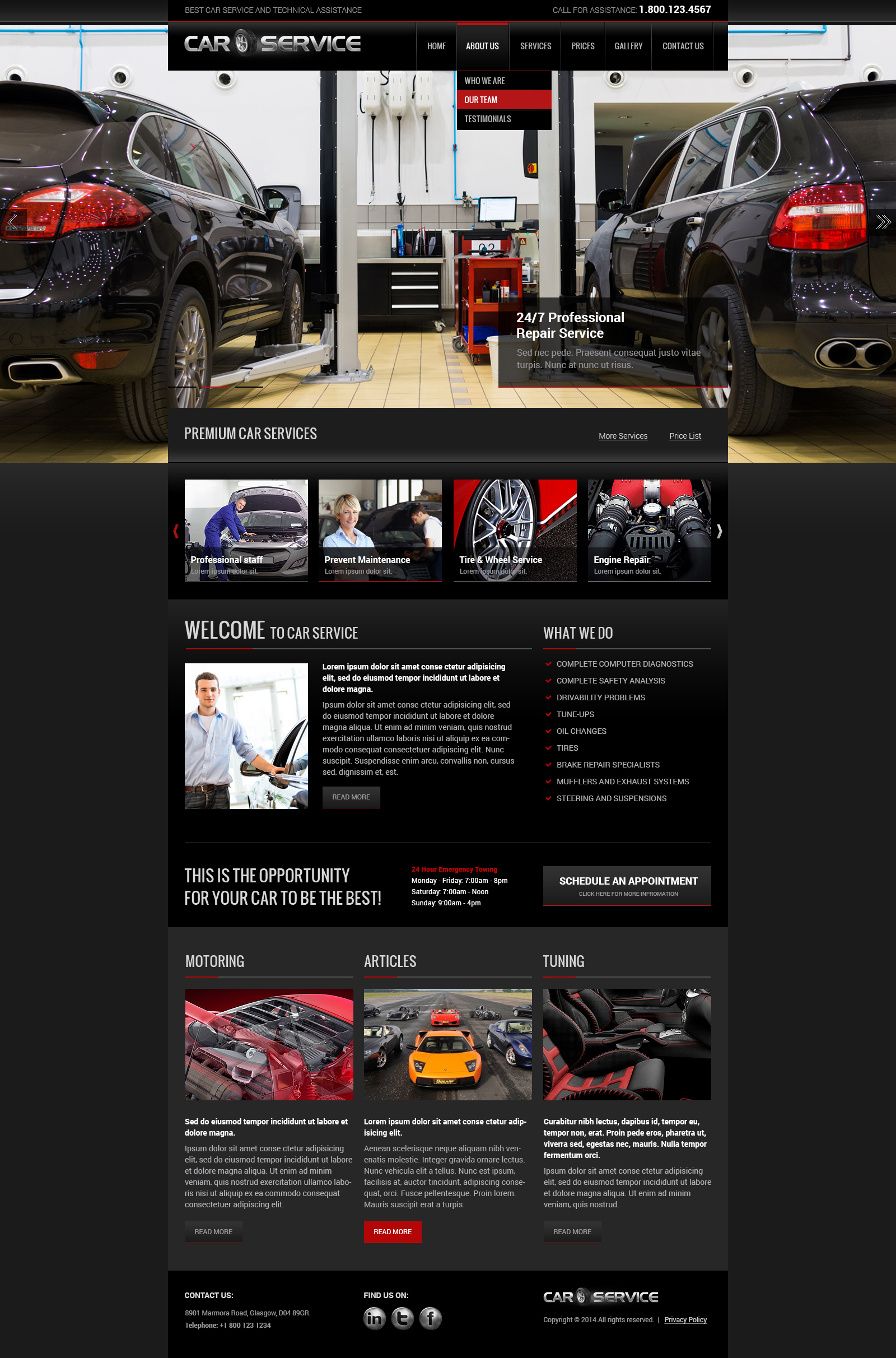 Car repair bootstrap template