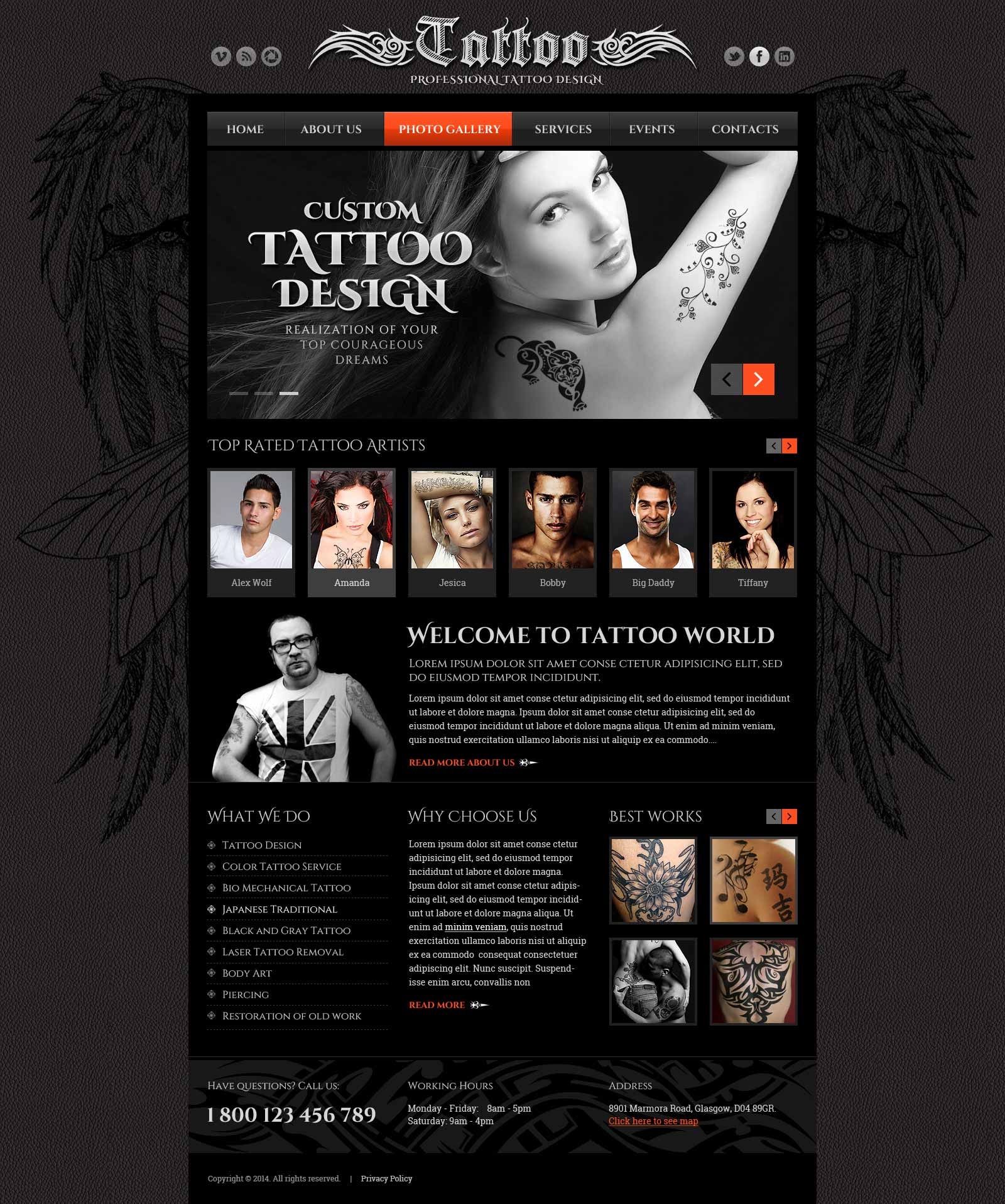tattoo design website template gridgum. Black Bedroom Furniture Sets. Home Design Ideas